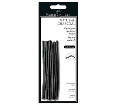 FC129198 Faber-Castell PITT Natural Willow Charcoal Sticks 3-6mm - 20ct. Sticks