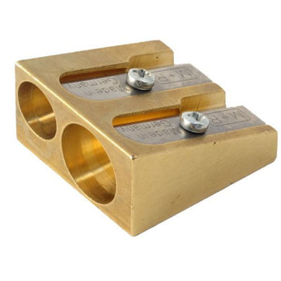 mg603-1252-mobuis-ruppert-brass-sharpener-double-hole-wedge-sharpener