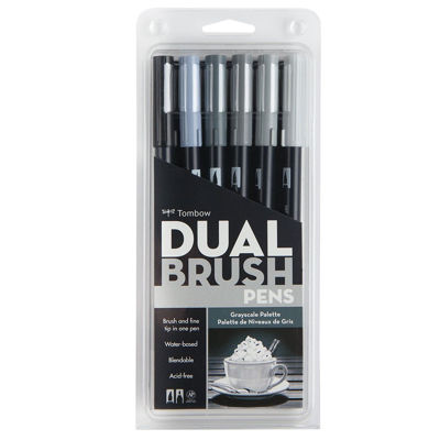 TB56166 	 Tombow Abt Dual Brush Marker 6 Set - Gray Scale